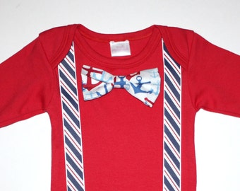 Red White and Blue Nautical Baby Boy Onesie Free Shipping