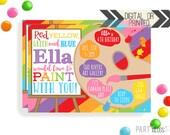 Art Party Birthday Invitation   Digital or Printed   Rainbow Art Invitation   Painting Invitation    Painting Party Invite   Art Theme