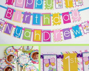 Rainbow Butterfly Birthday Party Decorations Package Fully Assembled