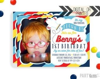 Airplane Birthday Invitation   Digital or Printed   Plane Invitation   Airplane Invitation   Airplane Invite  Airplane Party Invite
