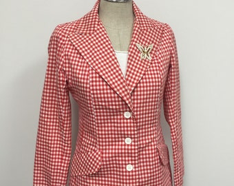 1970s Vintage Gingham Blazer - Red White Check Jacket - by Herman Geist - Vintage Gingham Check - Lightweight Red Blazer - Picnic  36 Bust