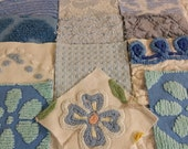 20 Vintage Chenille 6 inch Squares in Shades of Blue!