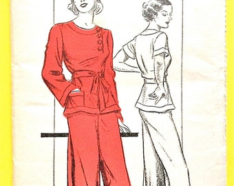1930s New York 468 Lounging Beach Pajamas Factory Folded NO DIRECTIONS Vintage Sewing Pattern  Bust 32