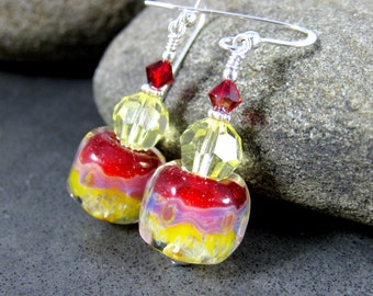Lemon Yellow Red Glass Dangle Earrings, Bright Colorful Earrings, Boro Lampwork Earrings, Drop Earrings, Boho Earrings, Colorful Jewelry