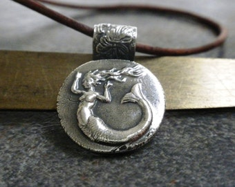 Mermaid Jewelry Silver Pendant Wax Seal Necklace