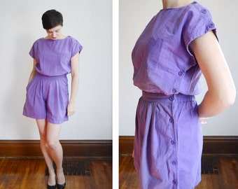 1980s Purple Cotton Romper - M