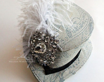 Silver Blue Mini Top Hat Wedding  Steampunk Fascinator