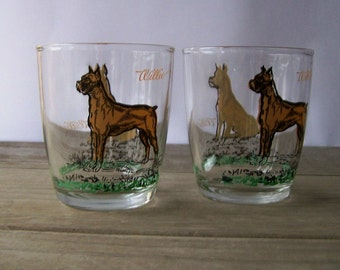 Vintage Willie The Dog Drinking Glasses ~ Boxer ~ Barware
