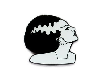 Halloween Bride of Frankenstein black and white enamel lapel pin