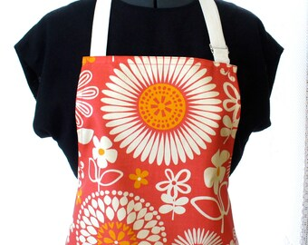 Colorful Daisy Suzani Womens Apron Full Apron Chefs Apron Adjustable Apron Cherry Red Orange White Waverly Gemma Jumbo Floral Handmade MTO