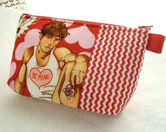 Hunky Man Look of Love Be Mine Valentines Day Fabric Large Pouch Cosmetic Bag Fabric Zipper Pouch Makeup Bag Alexander Henry Beefcake
