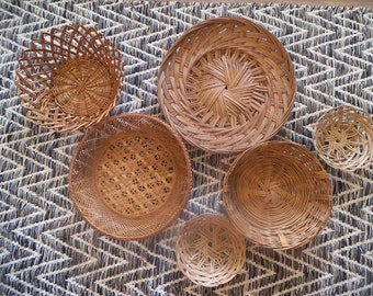 Large set of 6 Woven natural baskets ~ Jungalow Wall Art ~ Various sizes