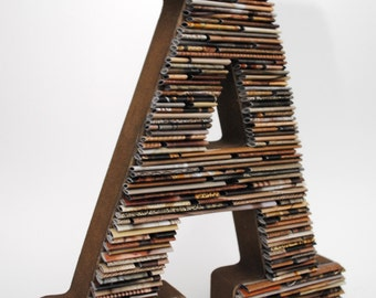 RUSTIC tabletop letter made with recycled magazines- brown, neutral, unique, nursery decoration, name, alphabet, modern letter, wall hanging