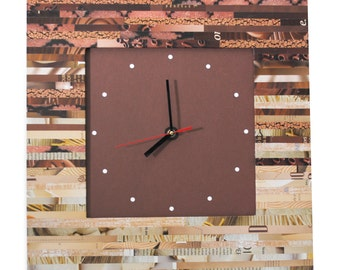 LARGE Ombre square wall clock - made from recycled magazines, unique, color blocking, square, unique, kitchen clock, artistic