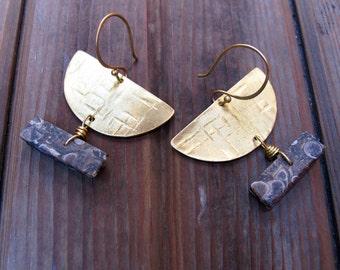 W Y O M I N G - Agate and Turritella Earrings - Stone and Brass Half Circle Earrings - OOAK Artisan Tangleweeds Jewelry