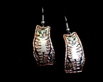 Cat Earrings, Vintage Copper Silver Cat Earrings, Cat Lover Jewelry, Tabby Cat Earrings, Feline Earrings, Pierced Dangle Earrings