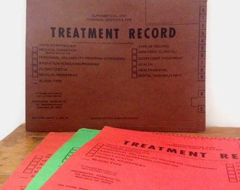 Vintage Army Treatment Record Folders - Set of 4 - Jan 1979