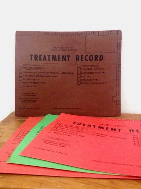 Vintage Army Treatment Record Folders - Set of 4 - Jan 1979