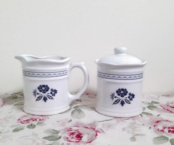 Blue & White Creamer Pitcher Sugar Bowl Set - Royal Stratford by Traditions
