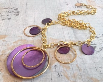CLEARANCE SALE Purple shell Necklace Earring Set, Gold Dangle Necklace