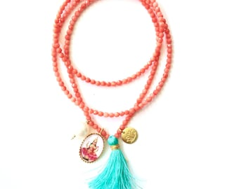 Lakshmi necklace for prosperity, faceted coral healing necklace for women, crystal energies, lakshmi pendant.