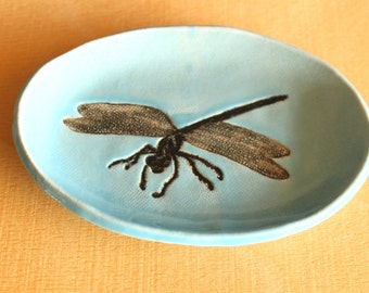 Ceramic DRAGONFLY Dish - Handmade Oval Blue Porcelain Flying Dragonfly Soap Dish / Jewelry Dish - Ready To Ship