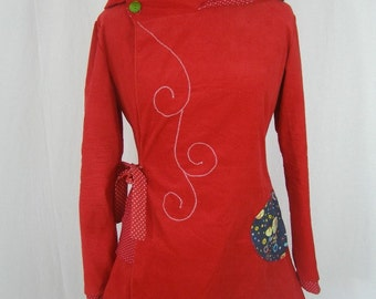 Sadako jacket Mid-length red and hood