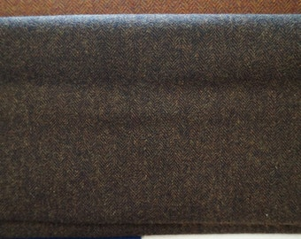 Dark Brown Herringbone-  Felted Wool Fabric Yard in 100% Wool Perfect for Rug Hooking, Quilting, Sewing, and Applique by Quilting Acres