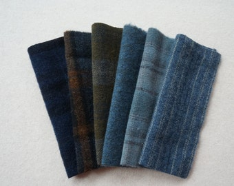 Blue - Navy - Gold - Brown - Hand Dyed Felted Wool Fabrics Rug Hooking, Wool Applique, Quilting, and Sewing by Quilting Acres