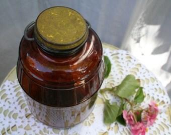 Very Nice Vintage Glass Brown Jar with Original Lid and Handle