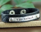 I am Enough Leather Bracelet, Personalized Leather Cuff Bracelet, Inspirational Leather Bracelets, Leather Cuff, Silver Cuff Bracelet