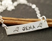 ON SALE Personalized Necklace, Sterling Silver Rectangular Bar, Mother Jewelry, Hand Stamped Jewelry, Bird Jewelry
