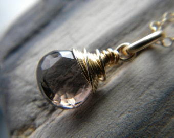 14k gold filled smoky quartz briolette necklace - handmade wire wrapped jewelry