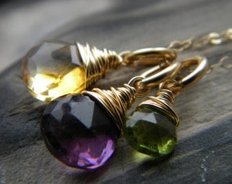 Gold filled citrine, amethyst and peridot charm necklace - handmade wire wrapped jewelry