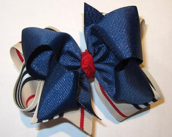 Hair Bows, Boutique Hairbow, Blue Denim Bow, Striped hair bow, Double Layered Hairbow, Blue Jean Hairbow, denim hair bow, Glitter Bows,