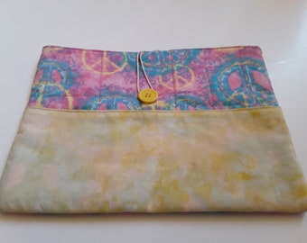"""Fabric Tablet Sleeve 10"""", Notebook Sleeve, iPad Case, Tablet Case, Laptop Sleeve, Peace Signs, OOAK, Ready to Ship, Quiltsy Handmade"""