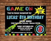Boy Tween Teen Laser Tag Arcade Game Neon Gun Target Light Saber Birthday Party  Invitation - DIGITAL FILE
