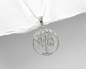 Sterling Silver Tree of Life Necklace, Gift for Mom, Stepmother Gift, Gift for Stepmother, Mother in Law Gift, Mother of the Bride Gift