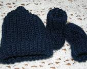 Navy cap and booties