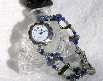 ON SALE 50% OFF Pewter Watch, Swarovski Crystal, Blue-Green Beads Jewelry     Sold as is 7 inches