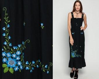 Floral Dress Maxi 70s Sun EMBROIDERED High Waist Bohemian Sundress 80s Boho Vintage Smocked Summer Black Garden Party Small Medium