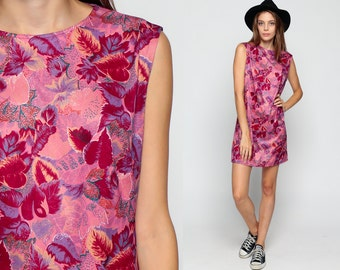 60s Mod Dress LEAF PRINT Hippie Shift Mini Sleeveless 70s Pink Red Purple Bohemian Sixties Tunic 1960s Boho Vintage Plus Size Extra Large xl