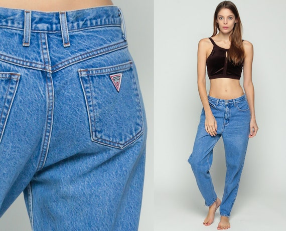 mom jeans high waist jeans 80s guess super high waisted blue. Black Bedroom Furniture Sets. Home Design Ideas