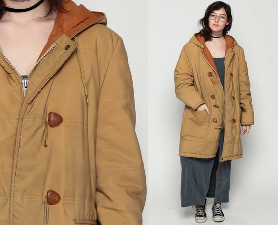 Duffle Coat 70s Jacket Toggle HOODED Clasp 80s Hood Vintage
