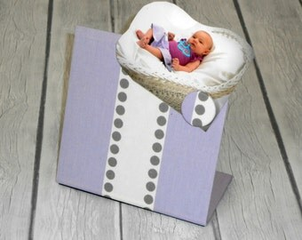 Baby Magnetic Board, Lulu Wisteria Fabric, Baby Shower, 6 x 6 size, Freestanding magnet board