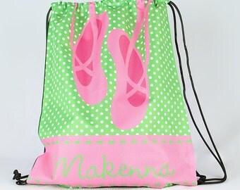 Personalized Drawstring Backpack, Ballet Bag