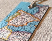 Spain and Portugal luggage tag made with original vintage map