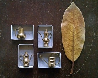 Vintage Miniatures Solid Brass Vessels Pitchers Pots Watering Can