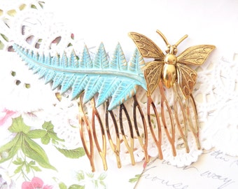 Verdigris Fern Leaf Hair Comb - Gold Butterfly Hair Comb - Green Mint Patina - Woodland - Wedding Hair Comb - Bridal Hair Accessory