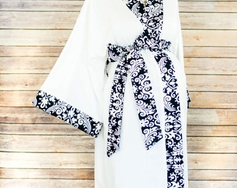 Black Damask Maternity Kimono Robe - Super Soft White Microfleece - Add a Labor and Delivery Gown to Match